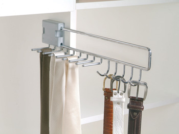 Pull Out Tie and Belt Rack, for 9 Ties and 5 Belts, Width 96 mm (74 mm without Spacer)