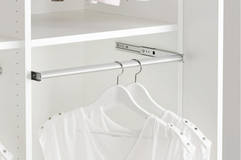 Pull Out Wardrobe Rail, Full Extension, Load Capacity 10 kg, Aluminium