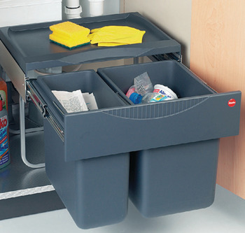 Pull Out Waste Bin, 1 x 12 and 1 x 18 litres, Tandem, Hailo