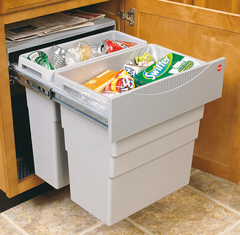 Pull Out Waste Bin, 1x 19 and 1x 30 Litres, Hailo Easy-Cargo