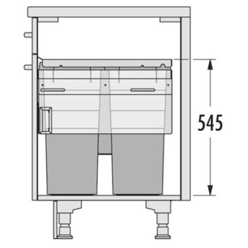 Pull Out Waste Bin, 2x 38, 1x 12 and 1x 2.5 Litre Bins, Hailo Euro-Cargo