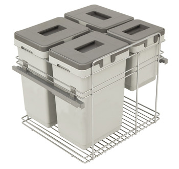 Pull Out Waste Bin, for Door Front Mounting, 3x 20 and 1x9 Litres, Kombi