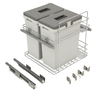 Pull Out Waste Bin, for Door Front Mounting, with Storage Area, 2x 20 Litres, Kombi