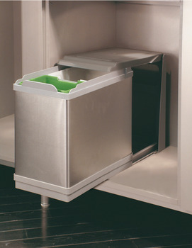 Pull Out Waste Bin, for Hinged Door Cabinets, 1x 10 and 1x 16 Litres, Ultra
