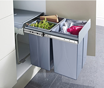 Pull Out Waste Bin, for Hinged Door Cabinets, 2x 10, 1x 20 Litres