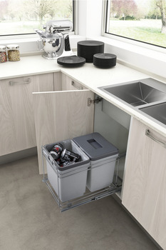 Pull Out Waste Bin, for Hinged Door Cabinets, 2x 15 Litres, PET13