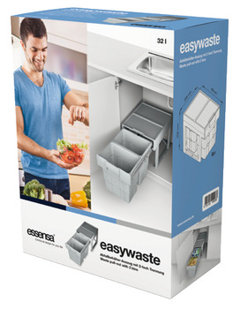 Pull Out Waste Bin, for Hinged Door Cabinets, 2x 16 Litres, Space Saving, Ninka Easywaste