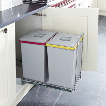 Pull Out Waste Bin, for Hinged Door Cabinets, 2x 24 Litres, Ecofil