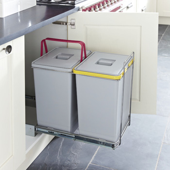 Pull Out Waste Bin For Hinged Door Cabinets 2x 24 Litres