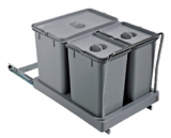 Pull Out Waste Bin, for Hinged Door Cabinets, 2x 8 and 1x 18 Litres, Beta