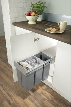 Pull Out Waste Bin, for Hinged Door Cabinets, 30 Litres