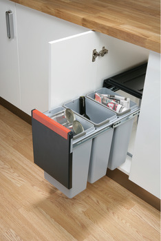 Pull Out Waste Bin, for Hinged Door Cabinets, 3x 10 Litres, Cube 30