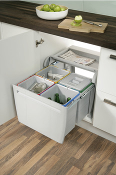 Pull Out Waste Bin, for Hinged Door Cabinets, 4x 12 Litres, City