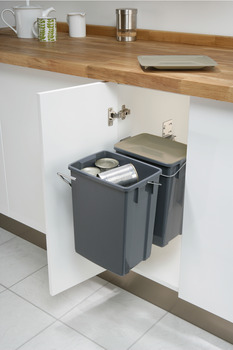 Pull Out Waste Bin, for Hinged Door Cabinets, for Recycling, 2x 10 Litres