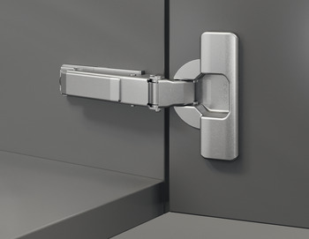 Push Door Hinge, 110° Duomatic, Self Opening, Quick Fitting Arm, Full Overlay Mounting