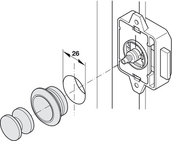 Push Lock Knob, for 13-19 mm Door Thicknesses