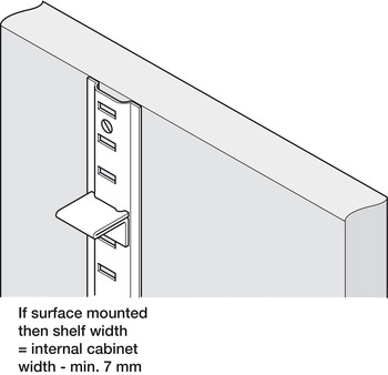 Raised Bookcase Strip, Surface Fixing, for Commercial Bookcases and Shelving