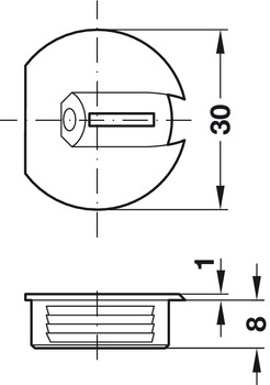 Recessed Connecting Fitting, Plastic