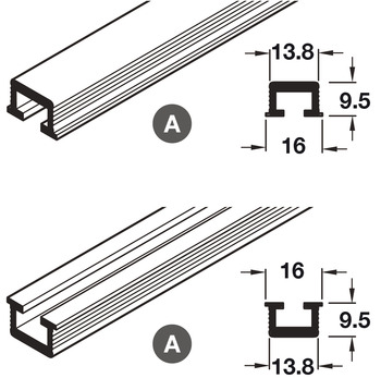 Reversible Track/Channel Set, for Sliding Cabinet Doors, Hawa-Miniroll