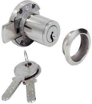Rim Lock, Minilock 40, with Ø 22 mm Kaba® 8 Cylinder, for Screw Fixing, Backset 20 mm