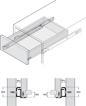Roller Action Drawer Runners, Single Extension, Load Capacity 30 kg