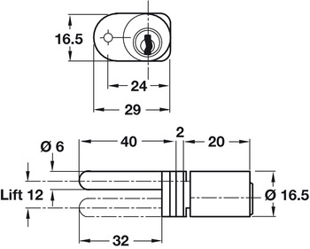 Rotary Cylinder, Ø 16.5 mm, for Central Locking System