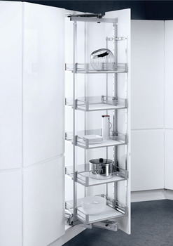 Rotary Larder Unit, Artline Glass Sided Chrome Wire Baskets, Centre Mounting, Soft Closing, Vauth-Sagel VS TAL Larder Spin