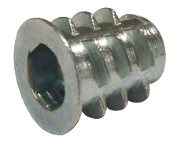 Screw-In Sleeve, M6 Internal Thread, Galvanized Zinc Alloy
