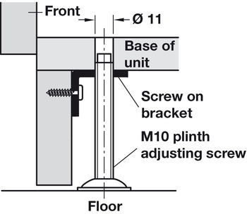 Screw on Bracket, for M10 Plinth Adjusting Screw, L-Shaped