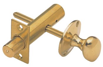 Security Bolt, Mortice Door, with Knob, Brass