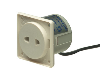 Shaver Socket, 55 x 55 mm, for use with Isolating Transformer and Hinged Cover
