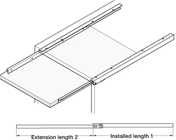 Shelf Runners, Single Extension, Load Capacity 30 kg