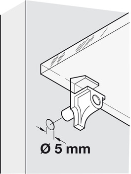 Shelf Support, Plug in, for Ø 5 mm Hole, for 4/5 mm Glass Shelves