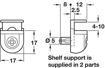 Shelf Support, Plug in, for Glass Shelves, Peki