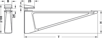 Shelf Support, Screw Fixing, for Glass or Wooden Shelves and for 4-45 mm Thickness