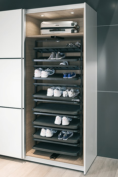 Shoe Rack, Extending and Rotating, for Tall Cabinets