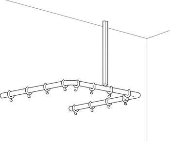 Shower Curtain Rail, Corner, U-Shaped, with Ceiling Support, Programma Cap Range, PBA