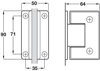 Shower Door Hinge, Wall to Glass Hinge 90°