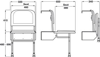 Shower Seat, with Legs, Doc M, Nyma White
