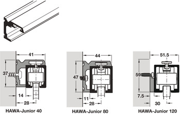 Side Fixing Profiles, for Hawa-Junior Top Tracks