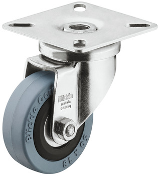 Single Wheel Castor, Swivel, with or without Brake, Wheel Ø 50-75 mm, Plate Fixing