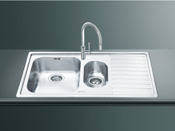 Sink, 1.5 Bowl and Drainer, Smeg Alba LL102