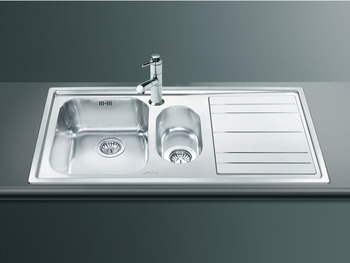 Sink, 1.5 Bowl and Drainer, Smeg Rigae LE102-2