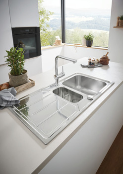 Sink, 1.5 Bowl with Drainer, Grohe K500