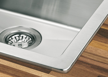 Sink and Drainer, with One and a Half Bowl, Top Mount, 1000 x 510 mm