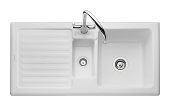 Sink, Ceramic, 1.5 Bowl and Drainer, Rangemaster CRT10202