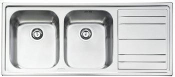 Sink, Double Bowl and Drainer, Smeg Rigae LE116-2