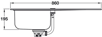 Sink, Single Bowl with Drainer, Grohe K500