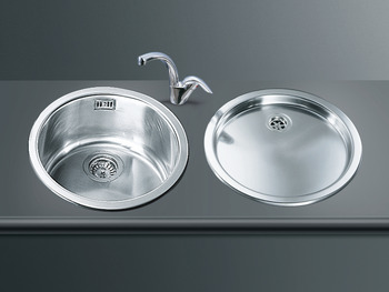 Sink, Single Round Bowl and Drainer, Smeg 10I3P/11I