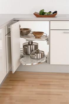 Slide Corner Pull Out Shelving Unit, White Base with Polished Chrome Rail, Vauth-Sagel